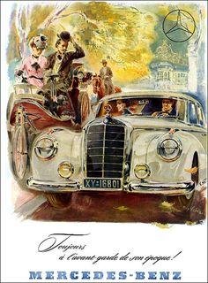 Mercedes Benz 1952 Mercedes Slc, Mercedes Benz Autos, Classic Mercedes, Mercedes Benz Germany, Gravure Illustration, Car Illustration, Illustrations, Vintage Advertisements, Vintage Ads
