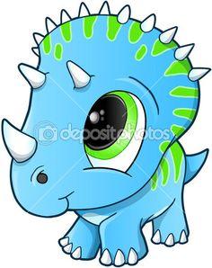 Милый ребенок трицератопс динозавр векторные иллюстрации