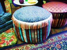 red thread ottomans. Beautiful hand crafted and unique designs.