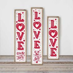 Love Valentine's Day SVG, dxf, 3 vertical files for long porch sign, front door design, for Cutting Monogram Frame, Monogram Fonts, Love Valentines, Valentine Crafts, Palette, Front Door Design, Porch Signs, Valentines Day Decorations, Cricut Design