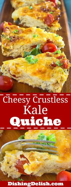 Cheesy Crustless Kale Quiche is the perfect gluten free brunch recipe! Creamy eggs mixed with spices and half & half, then poured over sautéed onions, kale, tomatoes, and smothered with Monterey jack and cheddar cheese. It's rich, filling, and bursting with southwestern flavors.