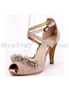 Decoration Ankle Strap Sandals   Heel Height Pearl Pink Leather Lace