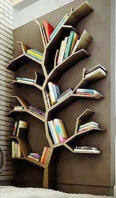 11 Impressive DIY Shelving Unit That You Can Make Easily – HomelySmart – Diy Shelves Tree Bookshelf, Tree Shelf, Cool Bookshelves, Book Shelves, Diy Tumblr, Decoration Inspiration, Decor Ideas, Creation Deco, Diy Holz