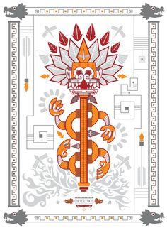 Una serie de 4 Dioses hechos en serigrafías impresas a mano. Realizados para la agencia WetBackAudio. Mexican Gods, Mexican Art, Mexican Graphic Design, Mexican Designs, Aztec Religion, Mexico Tattoo, Aztec Art, Mesoamerican, Indigenous Art