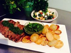 Skirt steak with chimmichurri, sautéed potatoes and apple baby spinach salad