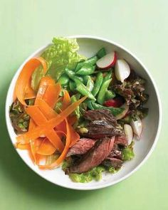 Steak Salad with Snap Peas What do you do with leftover steak? Why not make a beautiful, good-for-you salad with it? Everyday Food editor Sarah Carey shows you how to compose a springy steak salad that's lovely enough for company.   www.marthastewart.com