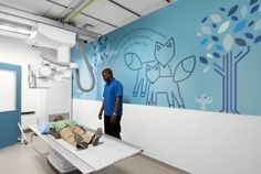 Graphic elements on the walls, ceilings, and floors illustrate Missouri-specific themes and provide positive distractions at the right place at the right time. Photo: Alise O'Brien Photography | PHOTO TOUR: St. Louis Children's Hospital Specialty Care Center | Healthcare Design