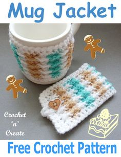 Mug Jacket Free Crochet Pattern – Crochet 'n' Create - crochet mug cozy Crochet Coffee Cozy, Crochet Cozy, Crochet Gifts, Easy Crochet, Free Crochet, Coffee Cup Cozy, Crochet Style, Holiday Crochet, Crochet Dishcloths