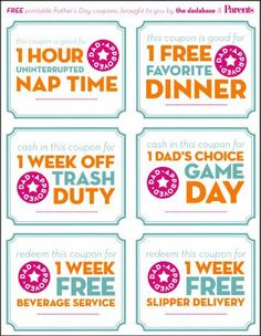 Free Printable Father's Day Coupons: