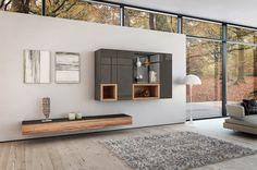 moderne Wohnzimmermöbel - Naturholz und Hochglanz-Elementen in grau