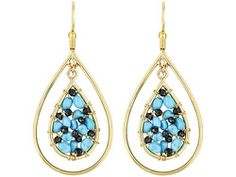 Tehya Oyama Turquoise(Tm) Turquoise And Black Spinel Beads 18k Gold Over Brass Earrings