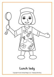 Print and colour this lovely picture of a cheerful lunch lady - always a welcome site during the school day! School Coloring Pages, Colouring Pages, School Cafeteria Decorations, Cafeteria Bulletin Boards, School Lunchroom, Class Displays, K Crafts, Love Teacher, Kindergarten Rocks