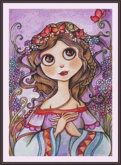 Diamond Painting Abstract Girl with Flowers in her Hair Kit Girl Cartoon, Cartoon Art, Girls With Flowers, 5d Diamond Painting, Arte Pop, Whimsical Art, Cute Art, Art Girl, Bunt