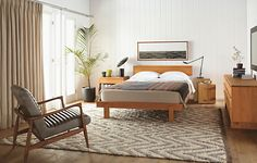 Inspired by the designs of George Nakashima, the Anders bed is handcrafted by Vermont artisans. Functional and beautiful, with mortise-and-tenon joinery, Anders is enhanced by a natural oil-and-wax finish.