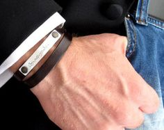 Men's Leather Bracelet Personalized Man's от roundhousejewelry