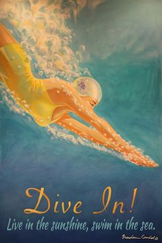 "Bathing beauty original art on wood.  Vintage retro pinup style beach pics.  Beach house decor.  Upscale coastal.  Perfect for any room, including bath, guest, entry and bedroom, or even pool house!  ""Dive In!"" Is one of my favorite images on a wood sign.  $75.00"