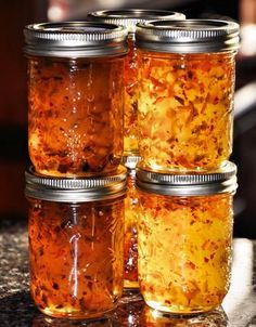 Hot Pepper Jelly - I love this stuff, easy and with cream cheese makes one of the best appetizers around!