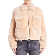 Helmut Lang Teddy Shearling Jacket ($1,995) ❤ liked on Polyvore featuring outerwear, jackets, apparel & accessories, shell, long sleeve jacket, helmut lang, cropped jacket, cold weather jackets and pink jacket
