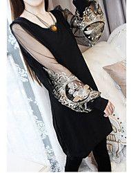 Malha Bordado Manga Puff Vestido das mulheres – BRL R$ 39,34