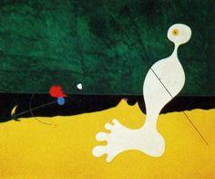 Personaje tirando una piedra a un pájaro  by Joan Miró