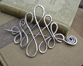 Large Looping Celtic Crossed Knots Aluminum Hair Pin, Barrette, Hair Slide, Shawl Pin - Long Hair Accessories, Celtic Knot Accessory