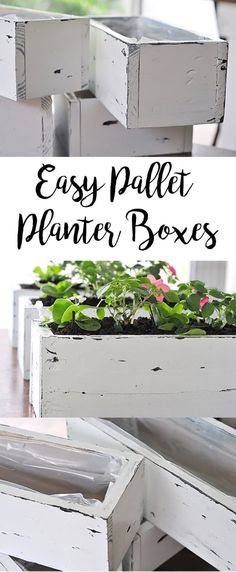 Easy DIY Pallet Planter Boxes Pallets are all the rage am I right? Check out our newest tutorial on DIY pallet planter boxes for flowers succulents or herbs. The post Easy DIY Pallet Planter Boxes appeared first on Pallet Diy. Pallet Crafts, Diy Pallet Projects, Craft Projects, Pallet Ideas, Woodworking Projects, Project Ideas, Wooden Projects, Wood Crafts, Craft Ideas