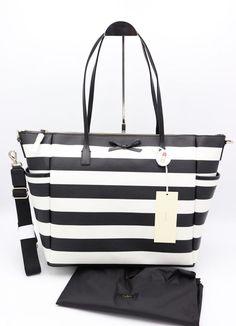 29e5e6258b NWT Kate Spade New York Eden Street Stripe Adaira Black White Baby Diaper  Bag  katespadenewyork