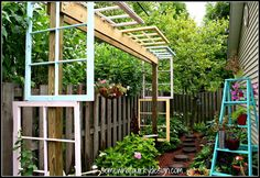 One cool recycled old window pergola for the backyard by Somewhat Quirky, featured on I Love That Junk. Love this!