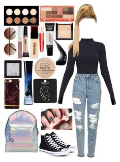 """""""Untitled #938"""" by brunette-biatch ❤ liked on Polyvore featuring Ivy Park, Topshop, NYX, L'Oréal Paris, Rimmel, Converse, Mi-Pac and Giorgio Armani"""