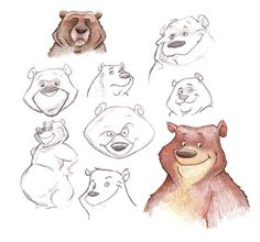 Bear Characters Sketches for a Website-Bear Characters Sketches for a Website Character development & facial expressions- by Dave Mott - Bear Character, Character Drawing, Character Poses, Drawing Cartoon Characters, Cartoon Drawings, Bear Illustration, Character Illustration, Animal Sketches, Animal Drawings
