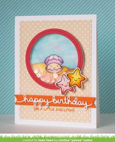 "the Lawn Fawn blog: Year Six Shellfish Clam Birthday Card by Cristina ""Yainea"" Nunez"