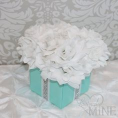 Centerpiece - Tiffany & Co. Inspired Flower Box Centerpiece with Rhinestone Ribbon Accents on Etsy, $23.00