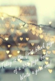 """Today is the first blank page of a 365 page book. Write a good one!"""