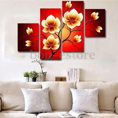 Modern Abstract Flowers Huge Wall Decor Art Oil Painting On Canvas No Frame, Size: Red Easy Flower Painting, Flower Painting Canvas, Oil Painting Flowers, Oil Painting Abstract, Abstract Flowers, Living Room Canvas Painting, Multi Canvas Art, Large Wall Paintings, Mural Art