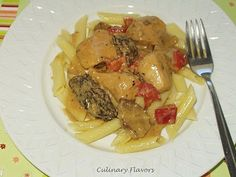 Chicken with Wild Mushroom Cream  Sauce over Pasta