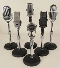 Antique Microphones A collection of 6 swivel head antique microphones circa 1930's -1940's.