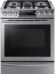 """Samsung NX58H9500WS 30"""" Slide-In Gas Range with 5 Sealed Burners, 5.8 cu. ft. Capacity, Guiding Light Controls, True Convection, Warming Drawer"""