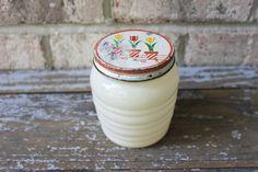Vintage FIRE KING Anchor Hocking 16 oz grease jar milk glass