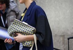 Love the combination of navy  grey. And the clutch... It's perfect. Marni