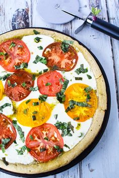 Caprese pizza recipe with colorful heirloom tomatoes, chunky delicious slices of fresh mozzarella, and basil leaves, the BEST and FRESHEST Caprese Pizza! Pizza Recipes, Appetizer Recipes, Appetizers, Caprese Pizza, Main Dishes, Side Dishes, Balsamic Glaze, Heirloom Tomatoes, Fresh Mozzarella
