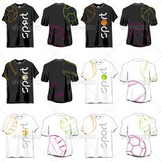 Sport T-shirts Designs Set  #GraphicRiver         Sport T-shirts Designs Set, isolated on white background.     Created: 10April12 GraphicsFilesIncluded: JPGImage #VectorEPS Layered: No MinimumAdobeCSVersion: CS Tags: active #advertising #back #ball #baseball #basketball #black #body #casual #cloth #color #cotton #design #draw #fashion #football #front #illustration #shop #soccer #sport #t-shirt #template #tennis #top #vector #volleyball #wardrobe #wear #white