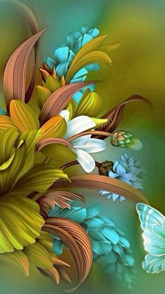 ideas flowers painting acrylic wallpaper for 2020 Beautiful Flowers Wallpapers, Beautiful Nature Wallpaper, Pretty Wallpapers, Beautiful Paintings, Flower Phone Wallpaper, Butterfly Wallpaper, Colorful Wallpaper, Wallpaper Backgrounds, Trendy Wallpaper
