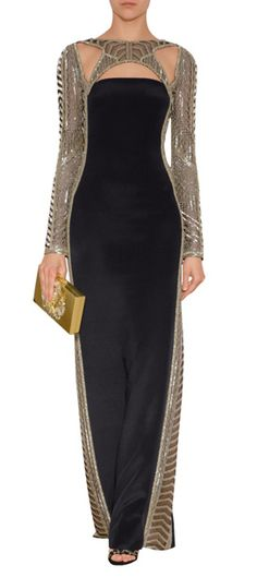 Emilio Pucci black & silver cut-out gown