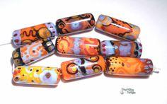 BOHEMIAN RHAPSODY Lampwork Beads  Long Tube by desertbugdesigns