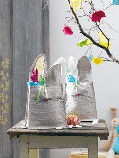 burda style Ostern Deko - Osternester, die wie Hasen aussehen. Foto: Andreas Hoernisch, Heft 04/2011