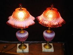 ++FENTON+CRANBERRY+HOBNAIL+OPALESCENT+LAMP+GRANDMOTHER+STYLE.++++++++++