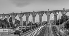 """25 sec. long exposure in balck and white of the Águas Livres Aqueduct (Portuguese: Aqueduto das Águas Livres, """"Aqueduct of the Free Waters"""") is a historic aqueduct in the city of Lisbon, Portugal. It is one of the most remarkable examples of 18th-century Portuguese engineering. The main course of the aqueduct covers 18 km, but the whole network of canals extends through nearly 58 km."""
