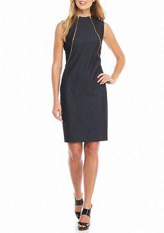Calvin Klein Double Zip Front Hi-Neck Shift Dress