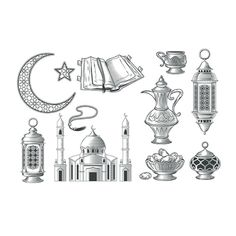 Set Of Vector Muslim Illustrations Icons For Prayer And Ramadan Vector and PNG Ramadan Png, Ramadan Greetings, Earth Sketch, Pray Allah, Muslim Eid, Icon Png, Location Icon, Instagram Logo, Icon Collection