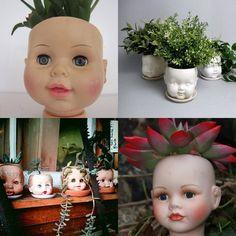 Vaso creepy cabeça de boneca - DIY